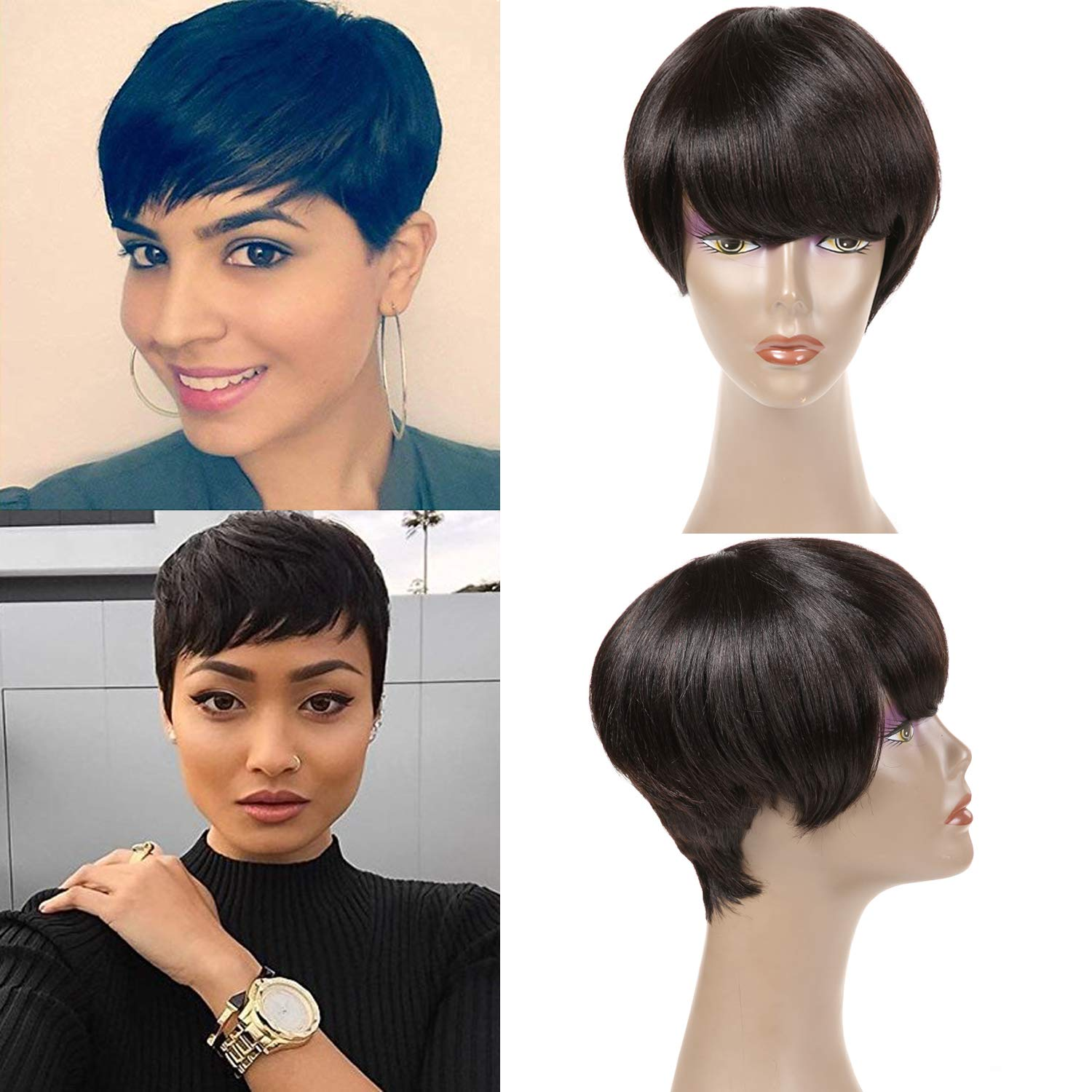 Amazon.com : Short Human Hair Wigs for Black
