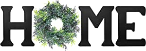 Biewoos Wall Hanging Home Sign with Artificial Eucalyptus for O, Rustic Wooden Home Letters with Wreath, Farmouse Home Wall Decor Signs for Living Room, Dinning Room, House (Black)