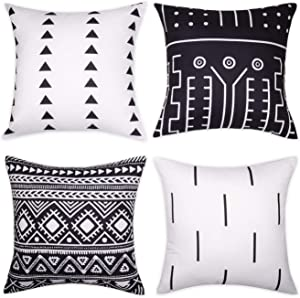 Wandering Nature Set of 4 Throw Pillow Covers for Sofa Couch Chair Bed 18''×18'' Modern Decorative Black White Pillowcases Mudcloth Geometric Cotton (Black)