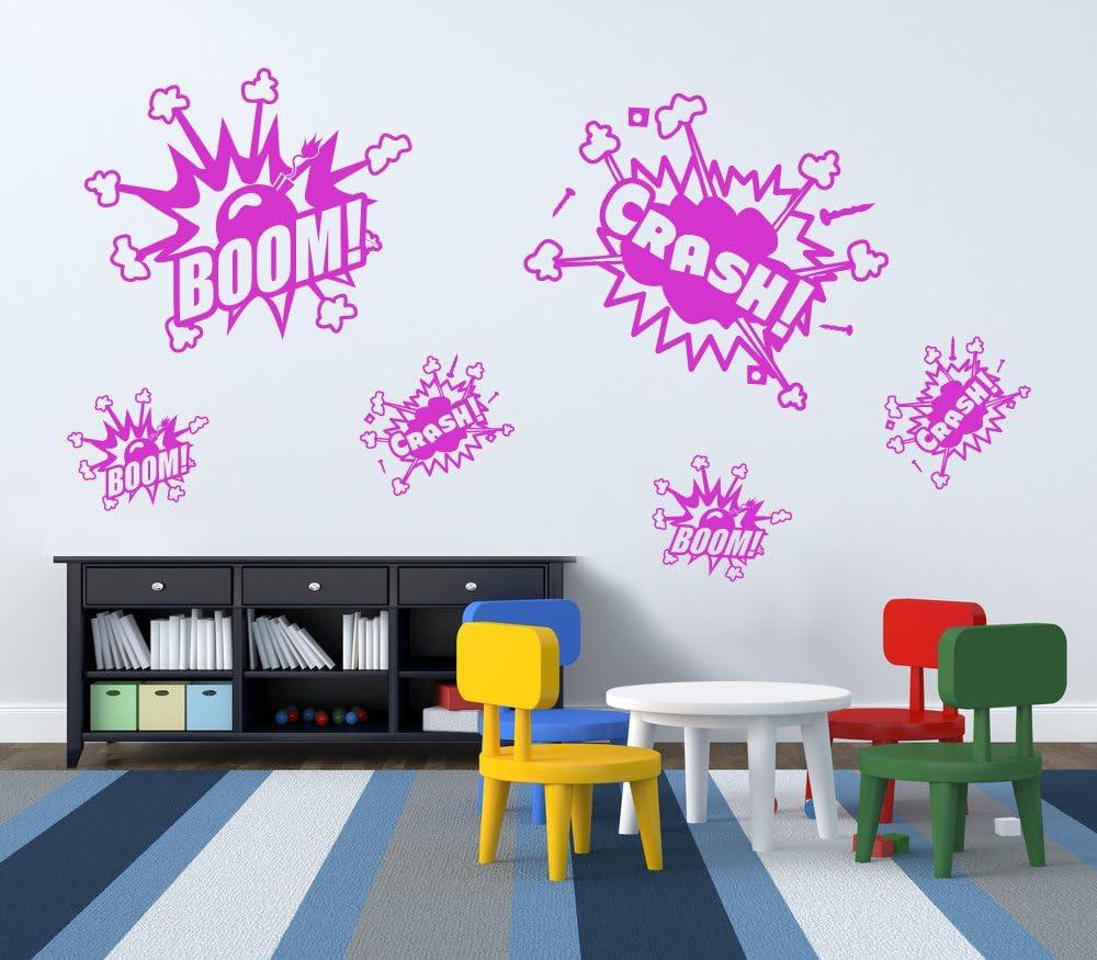 Facile /à enlever Small Green Art Mural Autocollant DIY Deco /Boom /& Crash Enfants Stickers muraux Amovibles Set of 6 A21/ Art D/écor pour Enfant Stickers muraux /Concept de Vinyle/