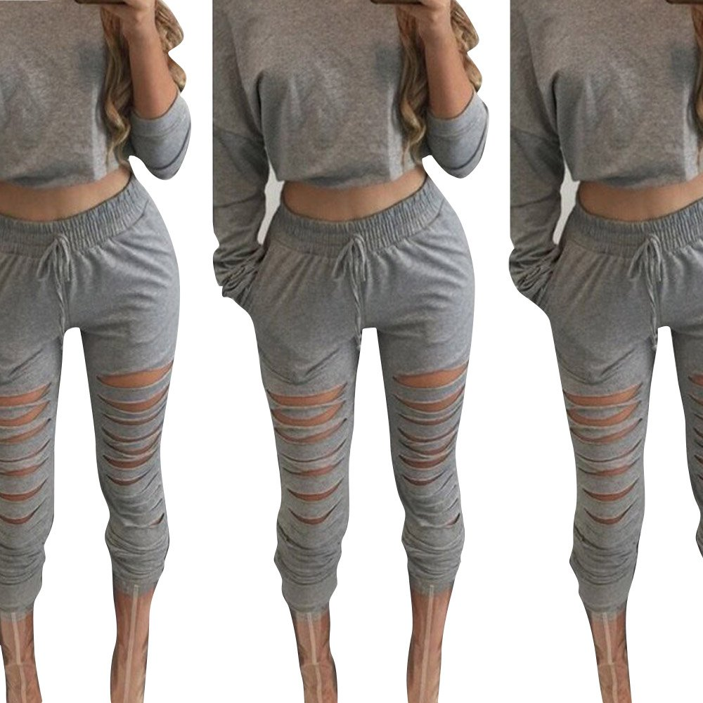 GBSELL 2pc Fashion Women Casual Sportswear Long Sleeves Blouse + Ripped Pants Set (XL, Gray)