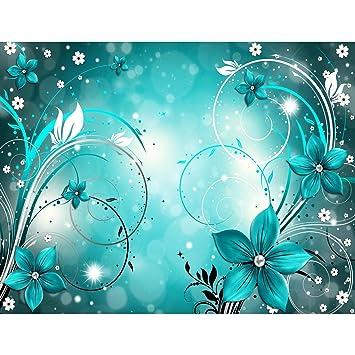 Fototapete Blumen Abstrakt Türkis Vlies Wand Tapete Wohnzimmer Schlafzimmer  Büro Flur Dekoration Wandbilder XXL Moderne Wanddeko - 100% MADE IN ...