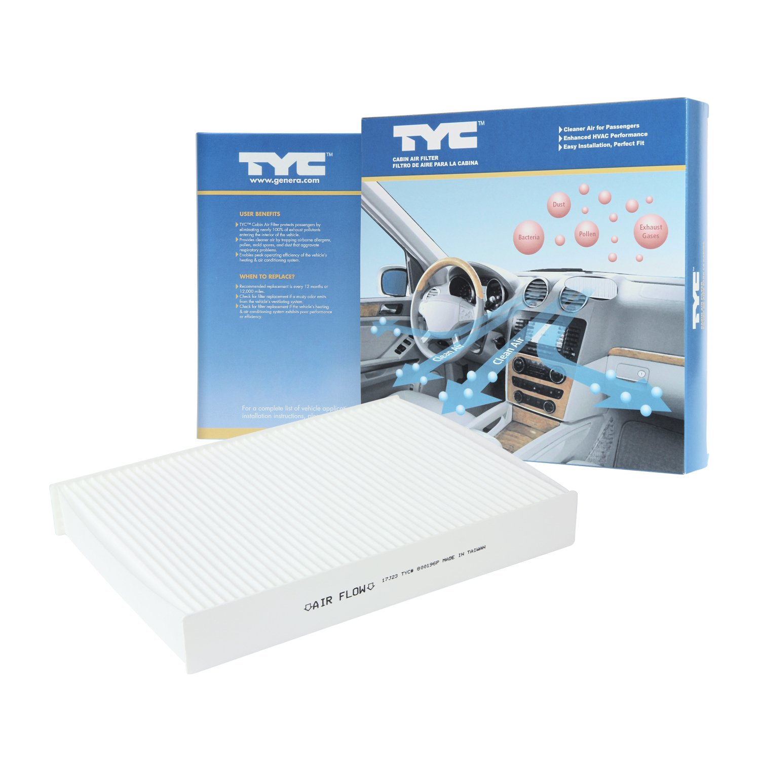 TYC 800196P Replacement Cabin Air Filter (NISSAN ROGUE), 1 Pack