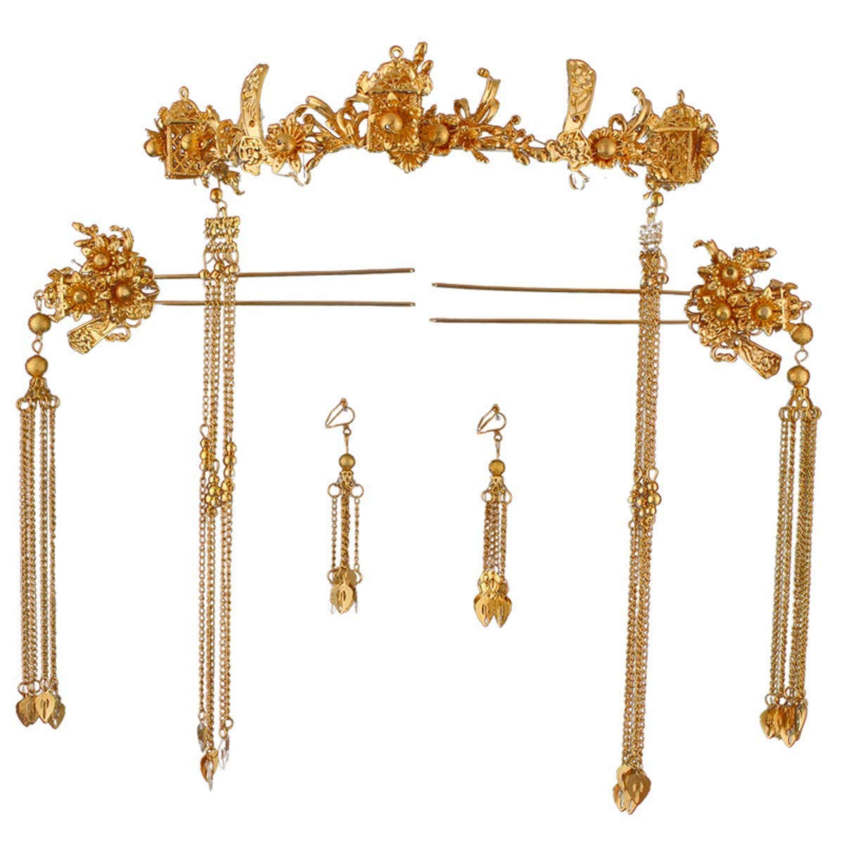 Crystal Crown, Beautiful headdress/Chinese Brides Head Ornaments Phoenix Crown Wedding Show Clothing Dragon And Phoenix Gown Headwear Ancient Chinese Dress Hairpin Step Rocking Accessories.