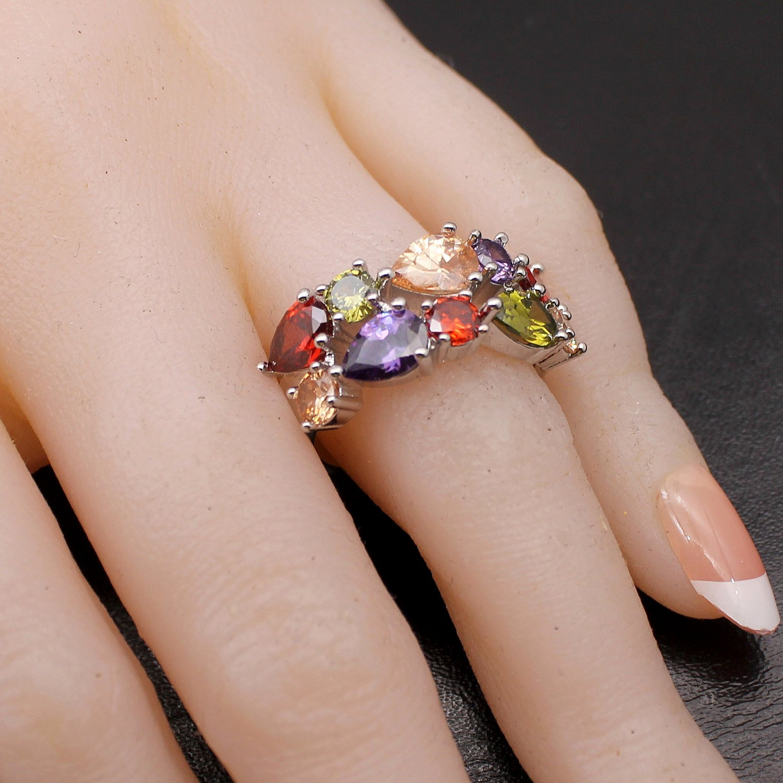 Amazon.com: Hermosa Multi Gemstone Ring Morganite Garnet Amethyst ...