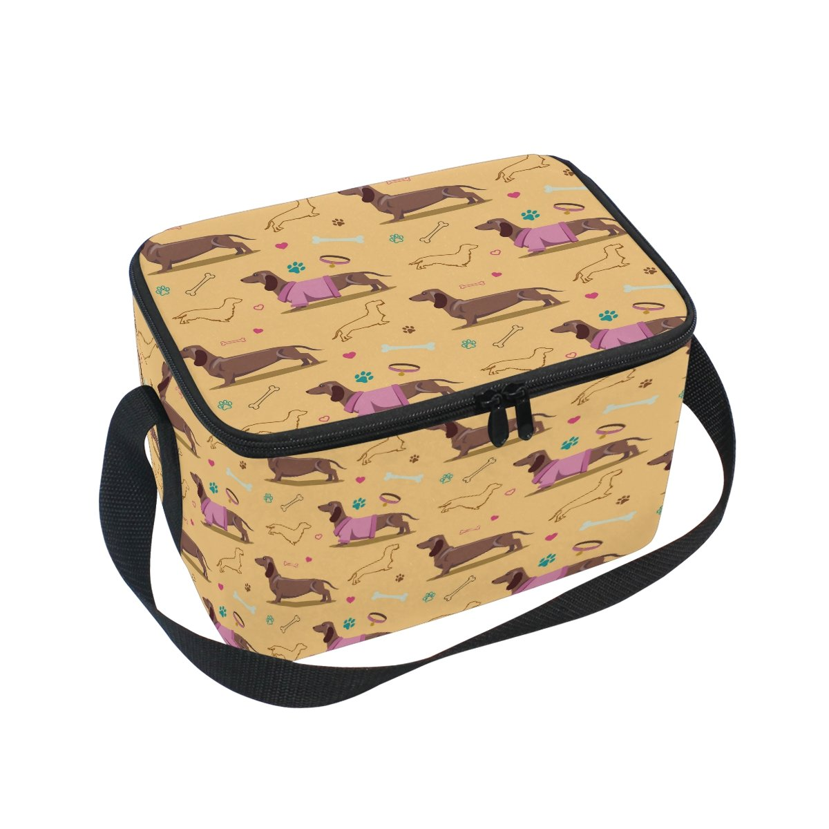 14ef212f97d0 ALAZA Dachshund Paw Print Insulated Lunch Bag Box Cooler Bag ...