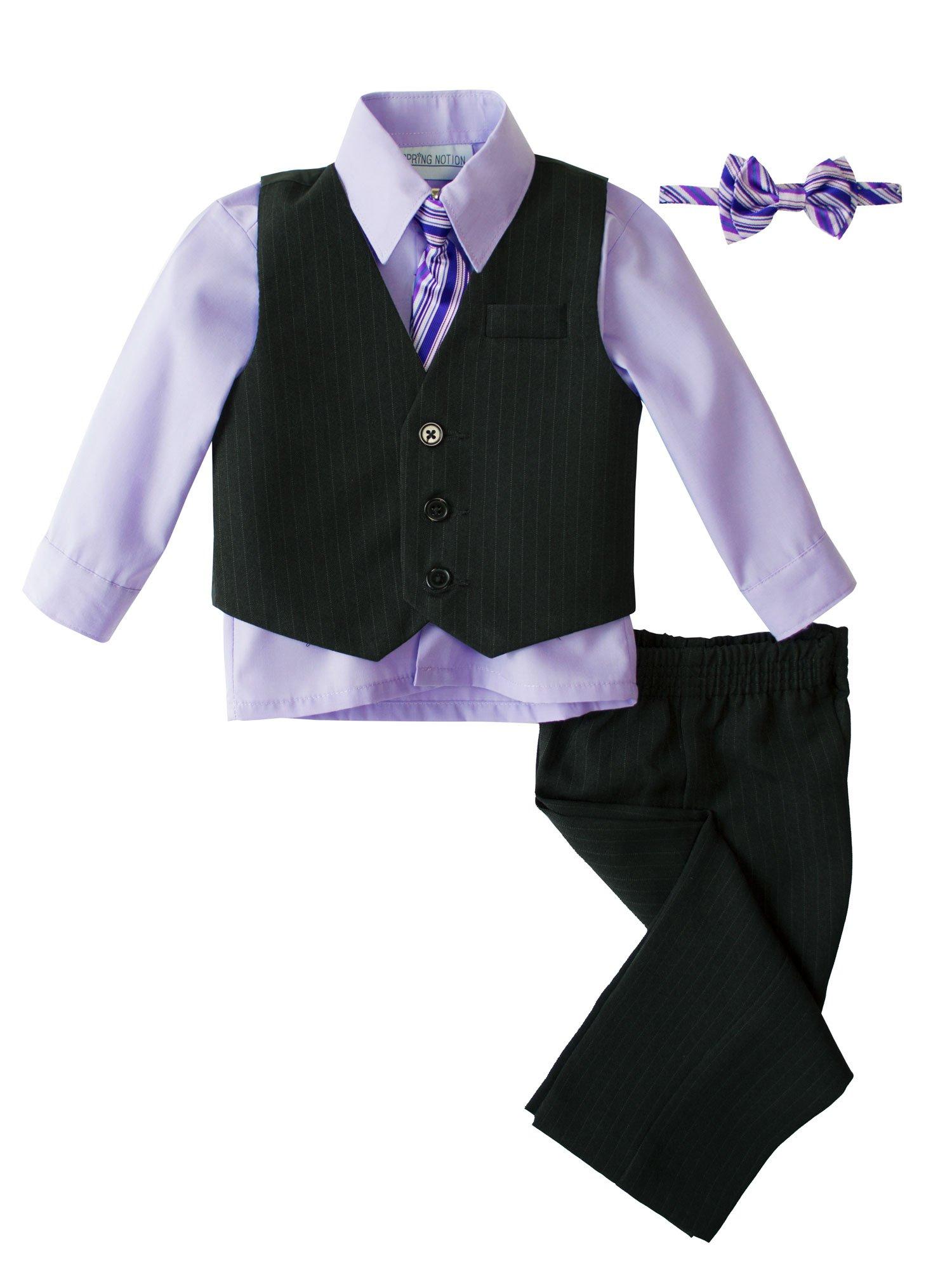 Spring Notion Toddler Boys Pinstripe Dress Shirt Vest & Pants Set 4T Lilac