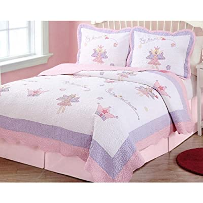 PEM America Fairy Princess Quilt Set in Pink and Purple - Full