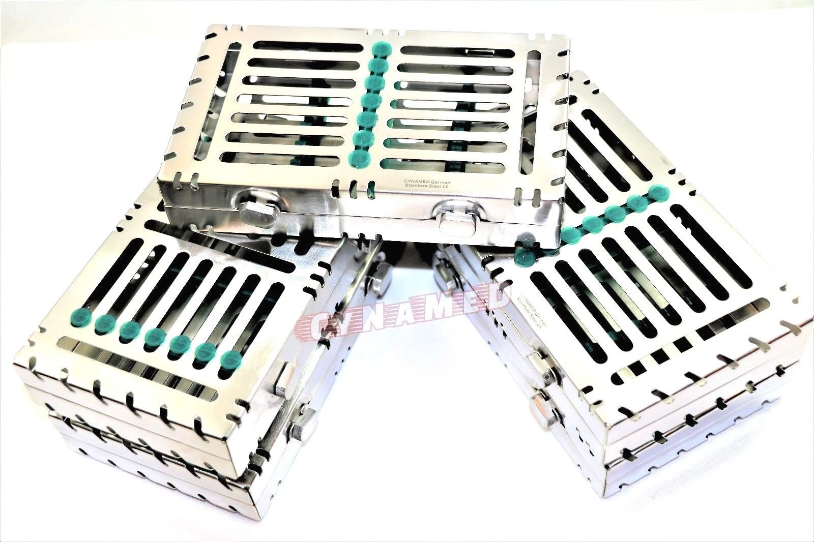 5 German Dental Autoclave Sterilization Cassette Rack Box Tray for 7 Instruments Green CYNAMED