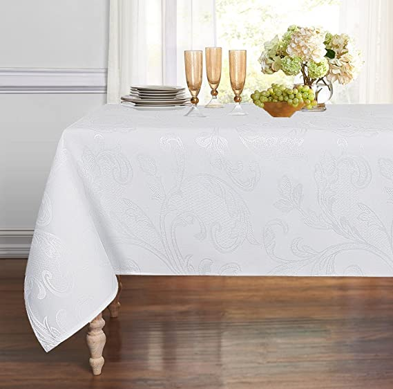 ColorBird Venetian Scroll Damask Jacquard Tablecloth Spillproof Waterproof Fabric Table Cover for Kitchen Dinning Tabletop Decor (Rectangle/Oblong, 60 x 102 Inch, White)