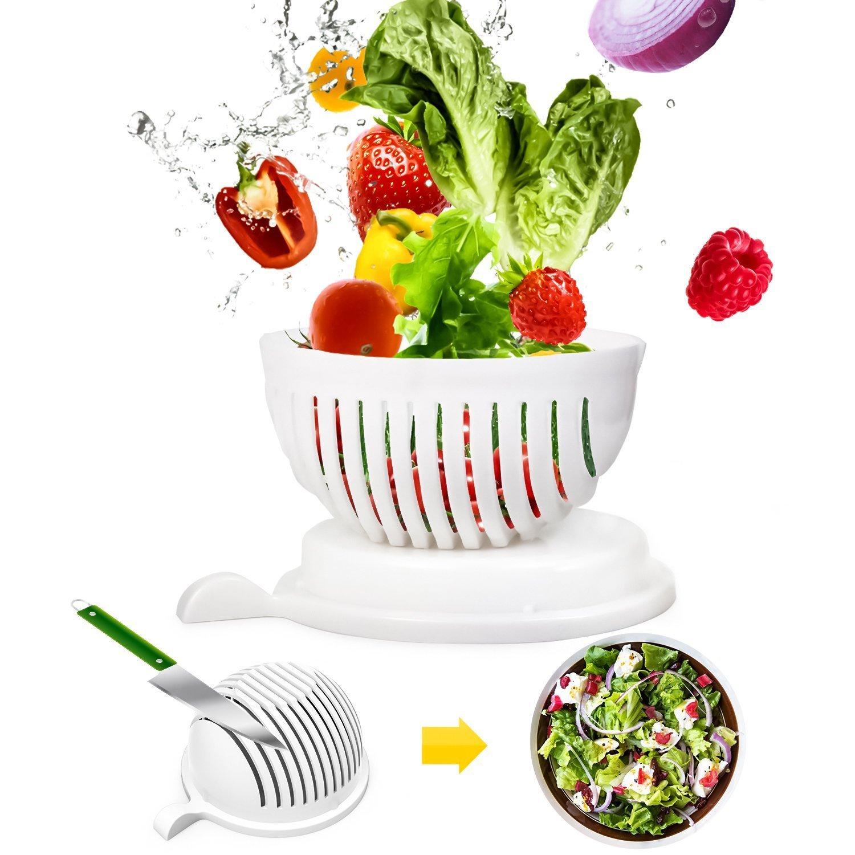 Salad Cutter Bowl, 60 Second Salad Maker, Salad Chopper Vegetable and Fruit Cutter Bowl Salad Spinners With Smiling Flatware Danny House COMINHKPR153048