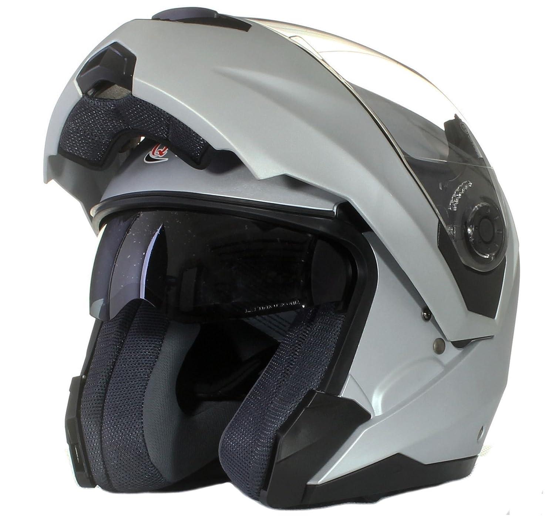Florescent Yellow XS 53-54cm Qtech MODULAR Flip-Up Front Motorcycle Helmet DOUBLE Visor DVS