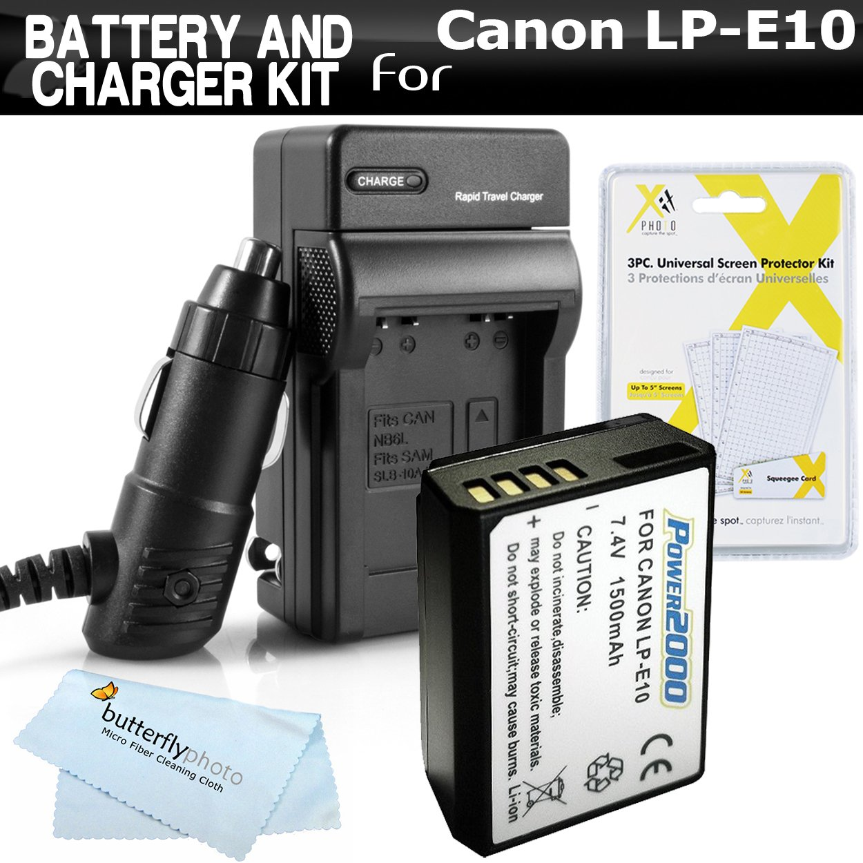 Battery And Charger Kit For Canon EOS Rebel T5, T3, EOS Rebel T6 Digital SLR Camera Includes Extended (1500mAh) Replacement LP-E10 Battery + Ac/Dc Rapid Travel Charger + LCD Screen Protectors + More by ButterflyPhoto