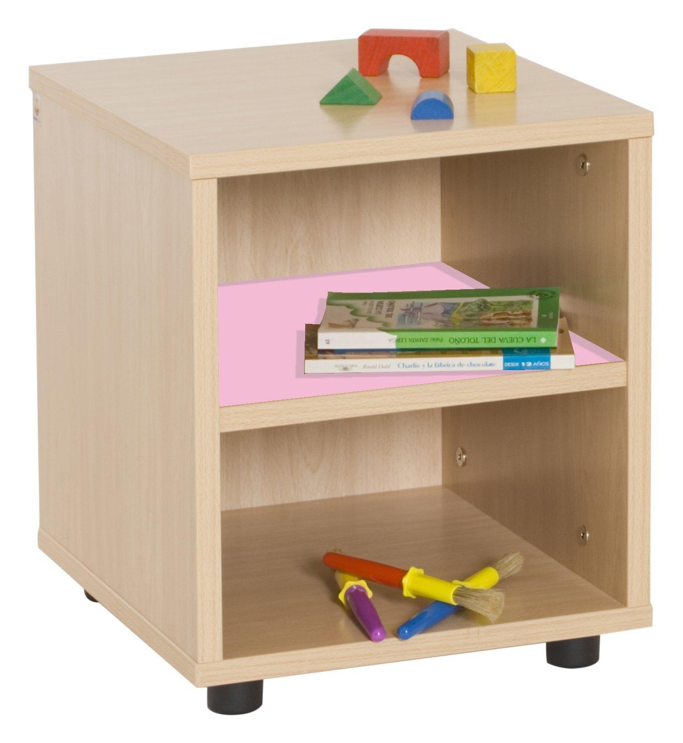 Mobeduc 600109HP22 Meuble Enfant superbajo-étagère bois hêtre-rose 36 x 40 x 44 cm