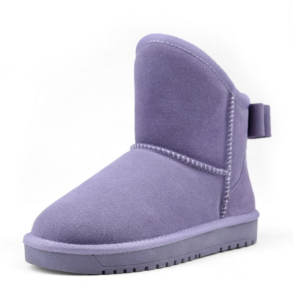 AmoonyFashion Women's Pull-on Low-Heels Imitated Suede Solid Low-top Snow-Boots, Purple, 39 by AmoonyFashion