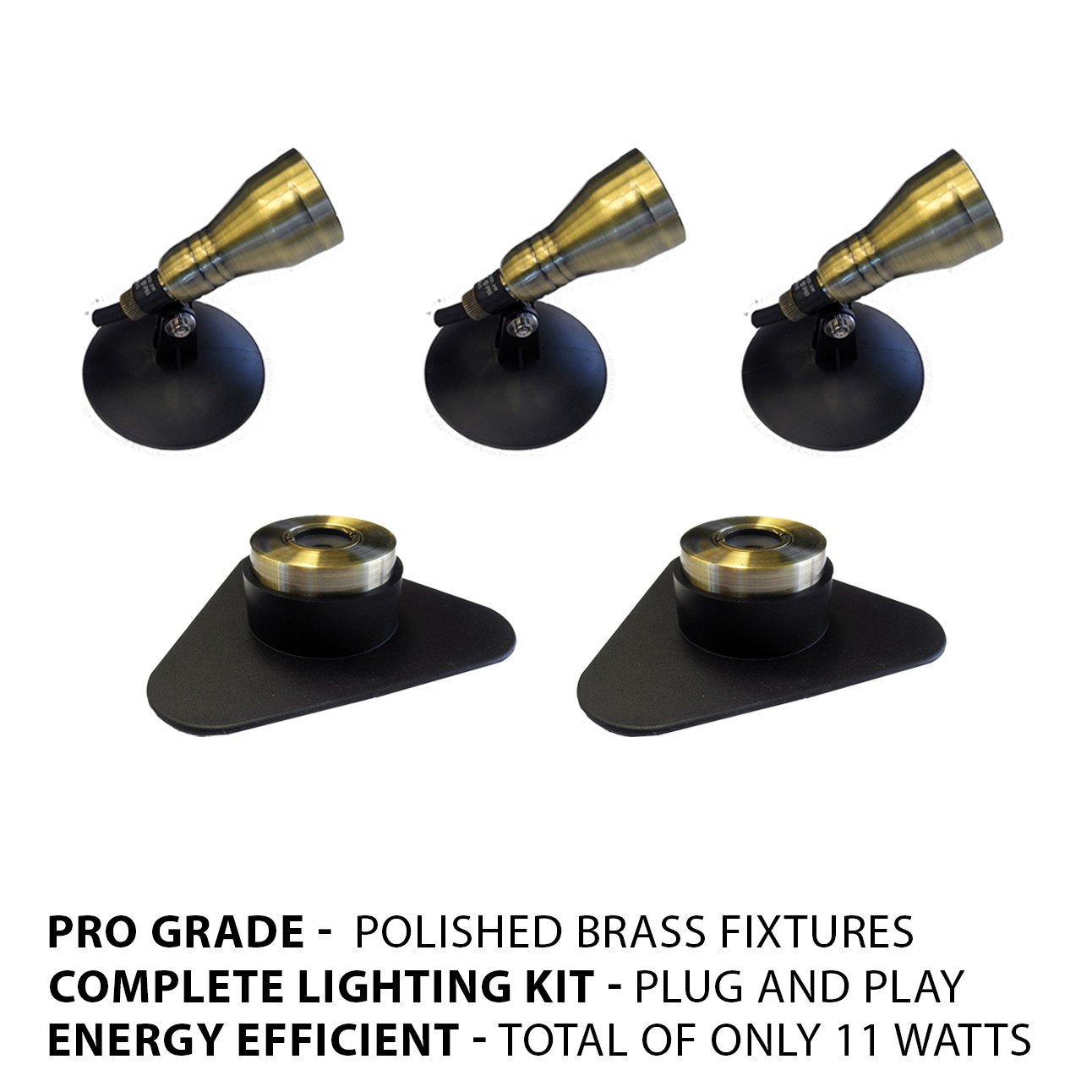 Patriot Brass LED Waterproof Pond and Landscape Lighting 11 Watt Light Kit P-C3