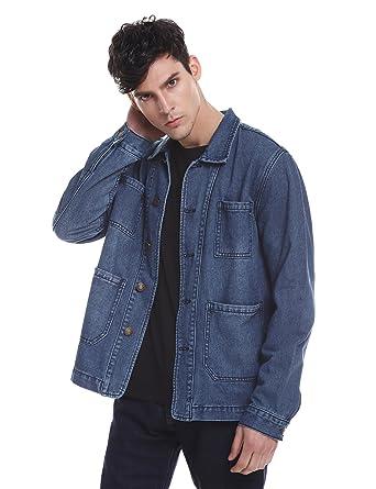 bcd3ce9e29 ZAN.STYLE Denim Jacket for Men Washed Blue Jean Trucker Jacket ...