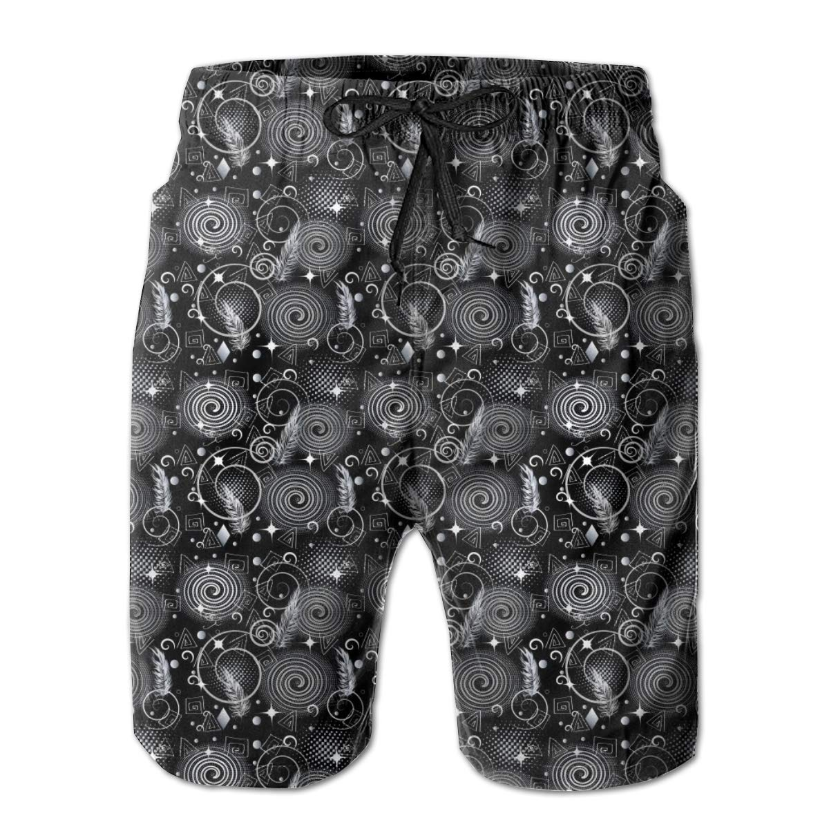 HZamora/_H Mens Modern Geometric Abstract Summer Breathable Quick-Drying Swim Trunks Beach Shorts Board Shorts