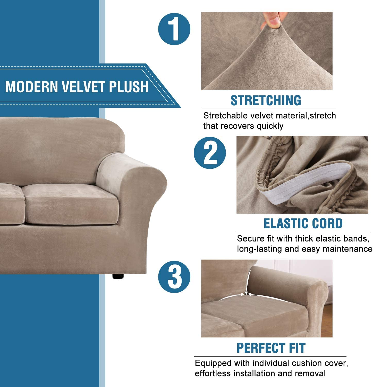 Real Velvet Plush 3 Piece Stretch Sofa Cover Velvet-Sofa Slipcover Loveseat Cover Furniture Protector Couch Soft Loveseat Slipcover for 2 Cushion Couch with Elastic Bottom Loveseat,Deep Teal
