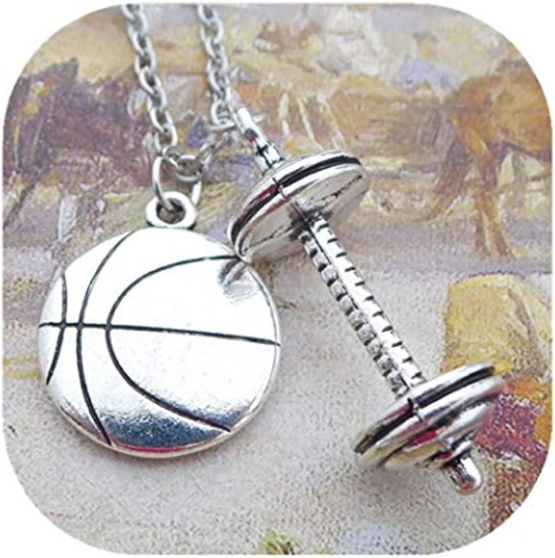 GYKMDF Collar de Fútbol, Collar de Abalorio de Fútbol, Colgante de Mancuerna, Collar de Fitness, Collar de Gimnasio, Regalos Deportivos