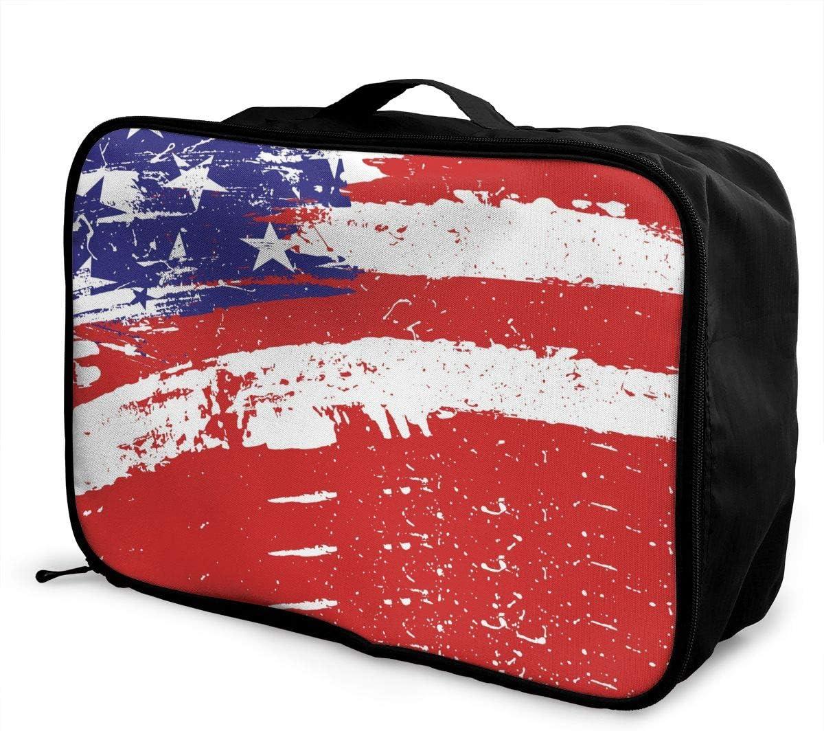 Top American Flag Travel Carry-on Luggage Weekender Bag Overnight Tote Flight Duffel In Trolley Handle