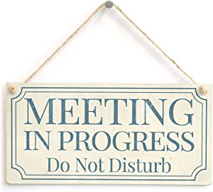 "Meijiafei Meeting in Progress Do Not Disturb - Home Accessory Gift Sign/Plaque for Home Office Study Door 10""x5"""