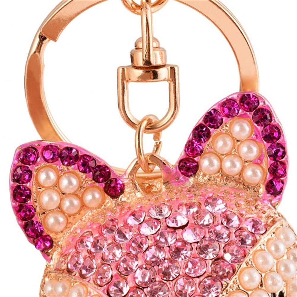Fox Head Women Hook Rhinestone Rabbit Ball Car Pendant Hand Bag Key Ring Chains /…