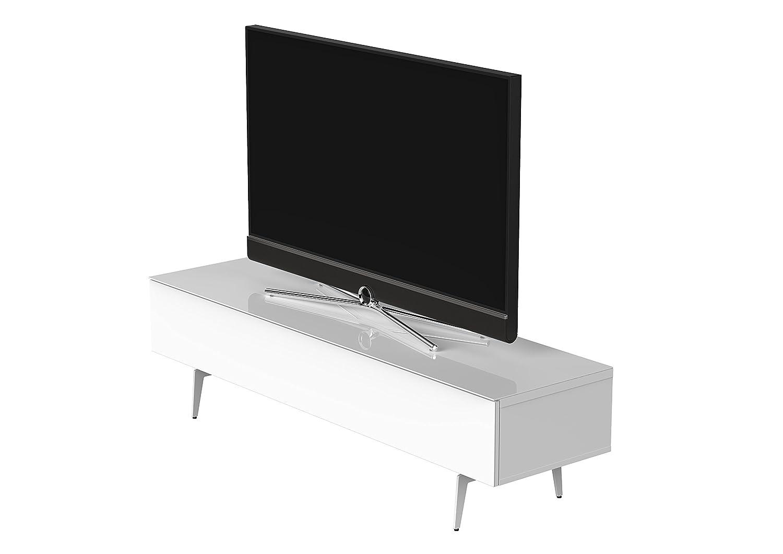 Sonorous STA 360F-WHT-WHT-SL stehende TV-Lowboard auf weißem Fußgestell mit weißer Korpus, obere Fläche und Klapptür mit gehärtetem Weißglas