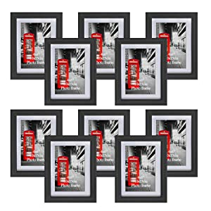 Amazing Roo 4x6 Picture Frame Set of 10 Black Photo Frames with Mats for Table Top Display and Wall Mounting with Real Glass