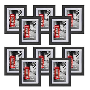Amazing Roo 4x6 Picture Frame with Mats for Table Top Display and Wall Mounting with Real Glass, 10 PCS Black