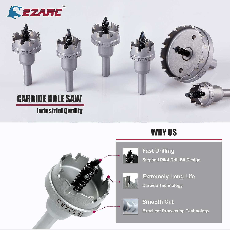 EZARC Sierra de Corona Broca Circular de Carburo Grado industrial Coronas Perforadoras Perforar en Metal y Inoxidable 18mm