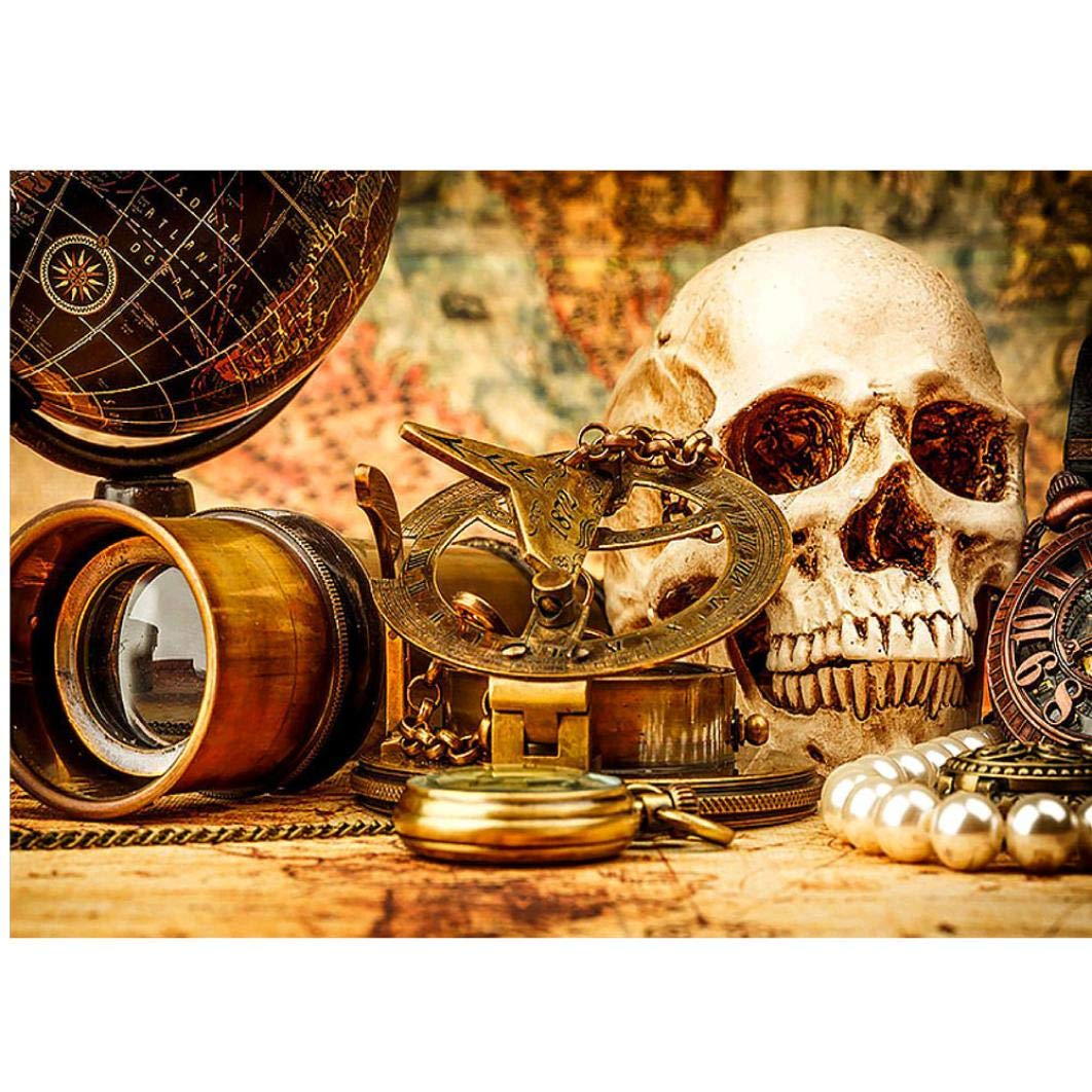 certainPL DIY 5D Diamond Painting by Number Kits, Crystal Rhinestone Diamond Embroidery Paintings Pictures Halloween Skull Arts Craft for Adults, Full Drill (15.7x11.8inch)