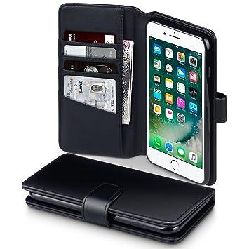 6d967814fae iPhone 8 Plus / iPhone 7 Plus Funda Cartera de auténtico cuero, tapa  delantera con billetera para tarjetas: Amazon.es: Electrónica