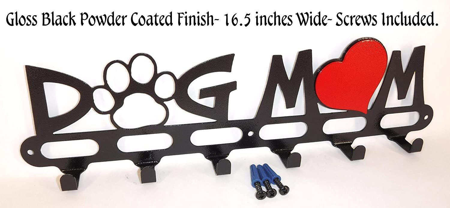 Dog Leash Hook Hanger Holder. Dog Mom. Gloss Black. 16.5 inch wide. Handmade in USA.