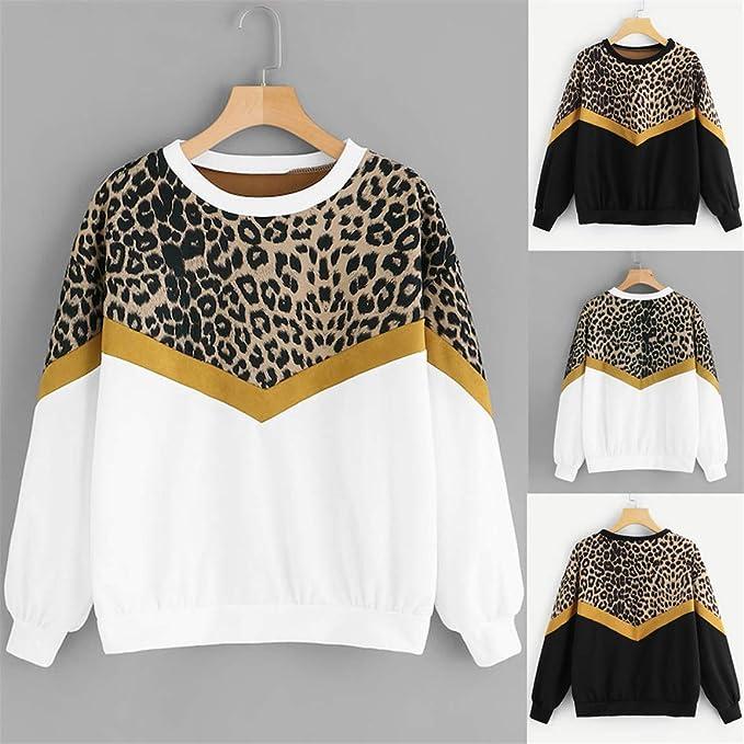 Damenmode Kleidung Langarm Leopardenmuster Tops Rundhals Pullover T-Shirt S-2XL