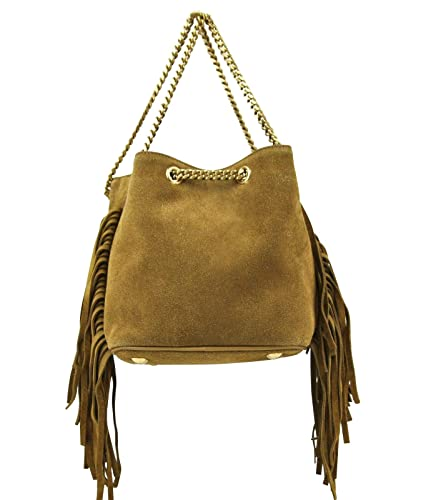 939978463a Yves Saint Laurent Emmanuelle Brown Suede Fringe Bucket Bag 434594 ...