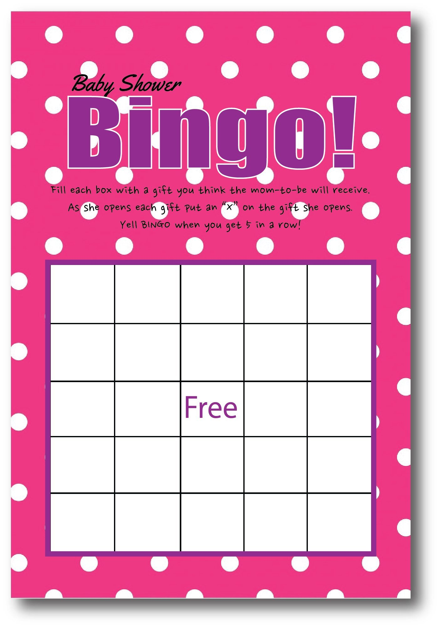 Baby Girl Shower Games | By L and P Designs | Baby Party Ideas (Bingo)