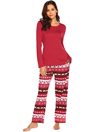 Ekouaer Pajamas for Women Cozy Top   Pant PJS Long Sleeve Chrismas Printed  Sleepwear Set S 152a93e3b