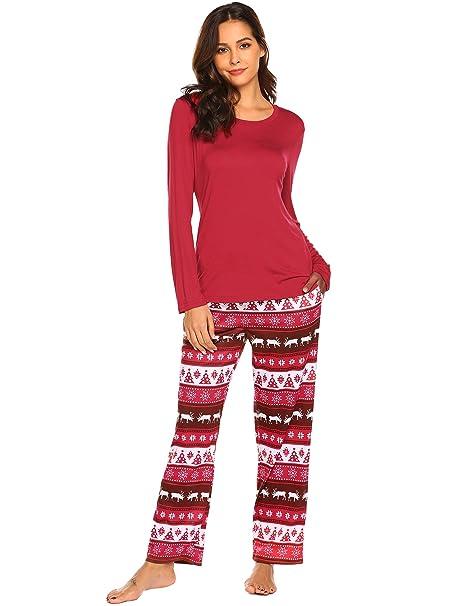 Christmas Pajamas Womens.Ekouaer Women S Pajamas Soft Christmas 2 Pieces Top And Pants Sleepwear Pjs Set