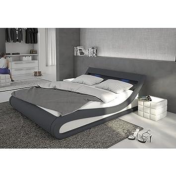 Bett 140x200 günstig  Polster-Bett 140x200 cm dunkelgrau-weiß aus Stoff und Kunstleder ...