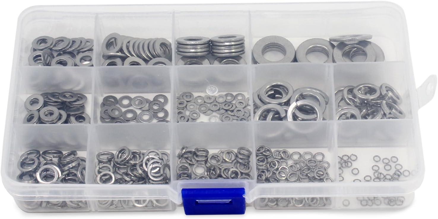Aussel M2-M10 7 Size 510PCS Flat Copper Washer Flat Sealing Ring Assortment Kit 7 Size 510PCS