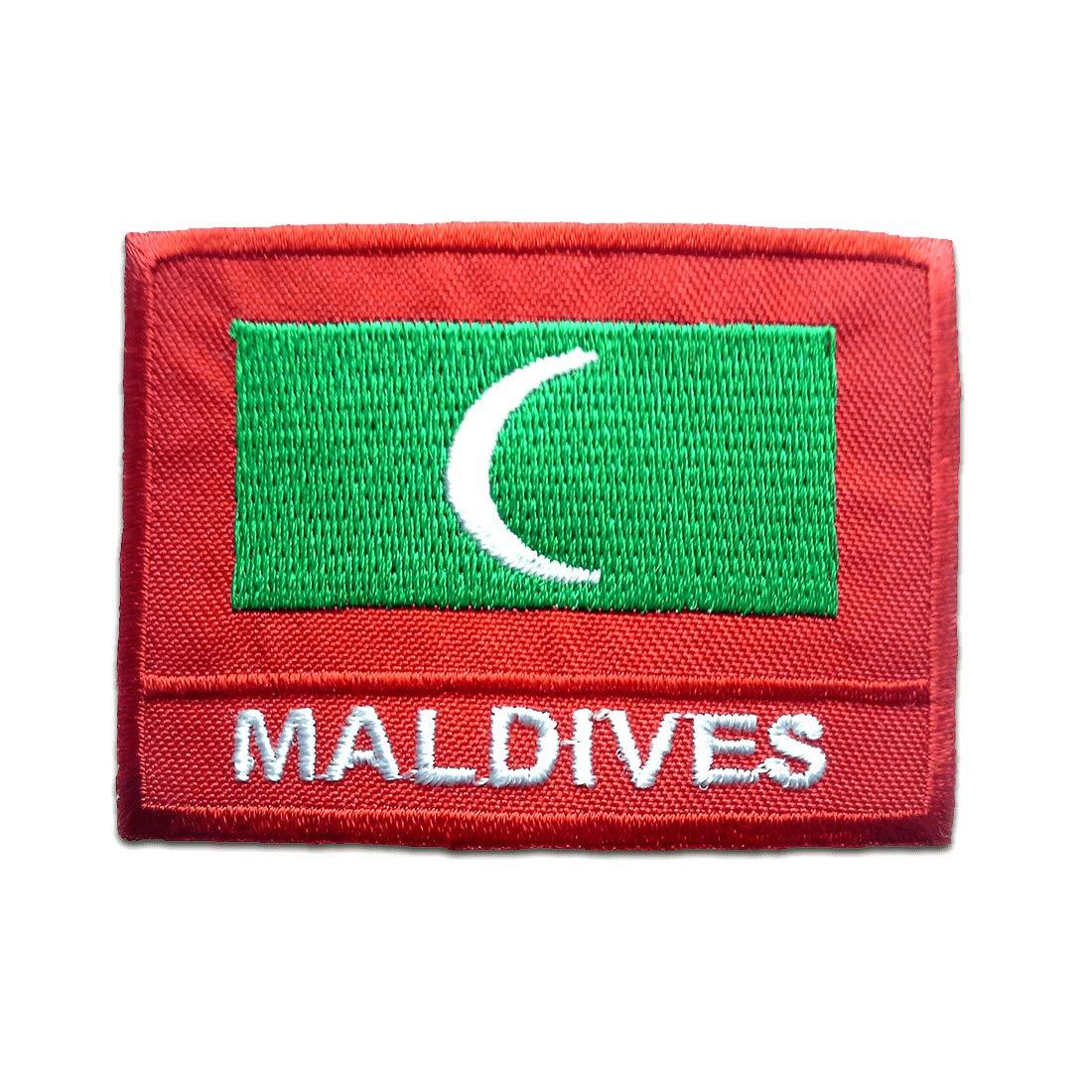 4,9 x 6,9 cm Malediven Flagge Fahne Aufnäher // Bügelbild rot