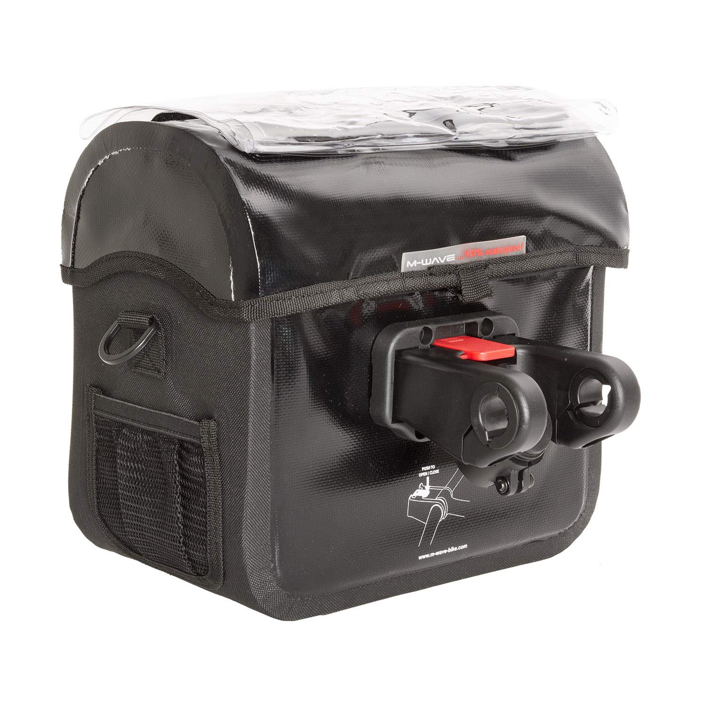 bc2efb8f5f7 M-Wave 122715.0 Bolsa Manillar con Portamapas, Unisex, Negro, 22-31 mm:  Amazon.es: Deportes y aire libre