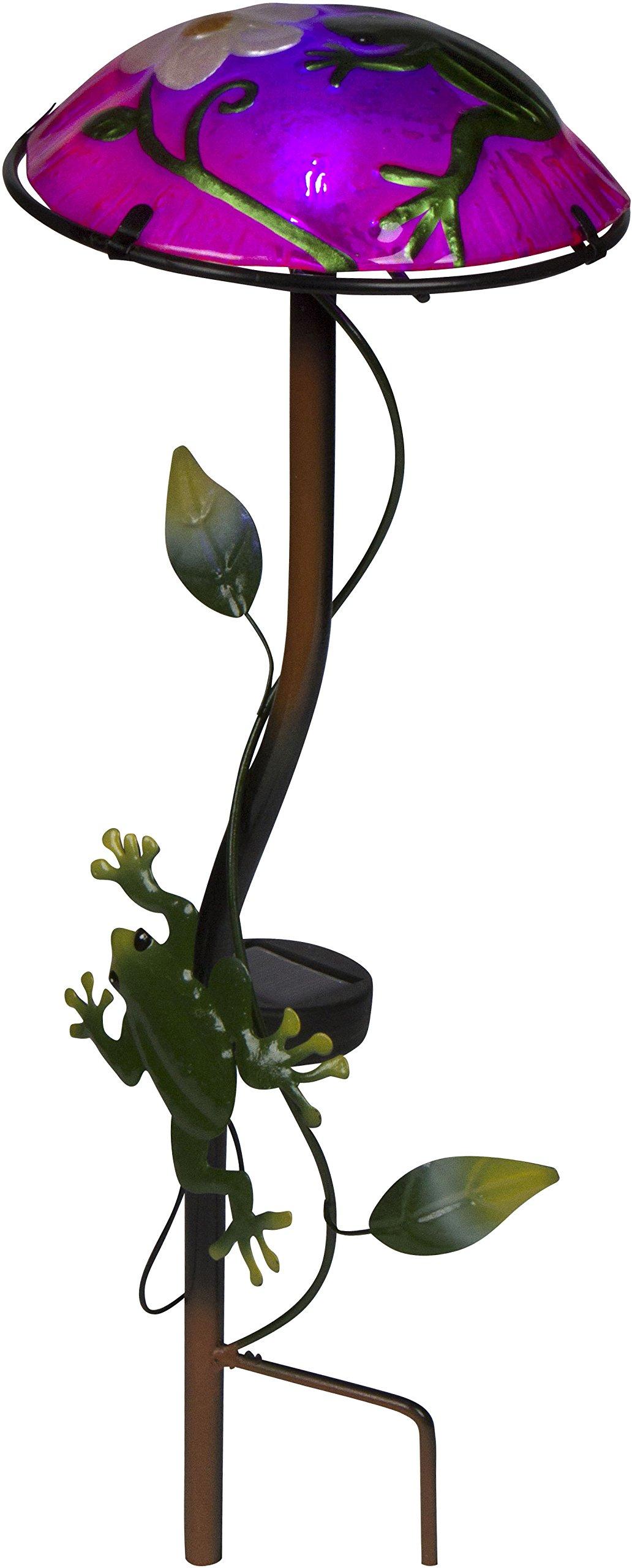 12'' Solar Mushroom Garden Stake with Frog Design by Trademark Innovations (Light Green) by Trademark Innovations (Image #1)