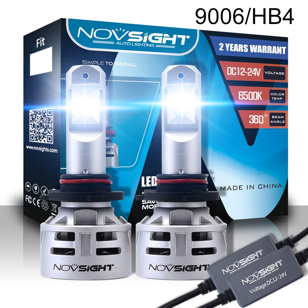 H11 H8 H9 LED Car Headlight Bulbs Conversion Kit, Nighteye 60W 10000LM 6500K Cool White Super Bright LED Automotive Driving Headlight Bulbs (Pack of 2)- 3 Year Warranty Wanmingtek WMA386-N9