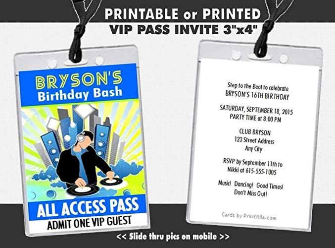 At Da Club Birthday Party VIP Pass Invitation Printable Or Printed Option
