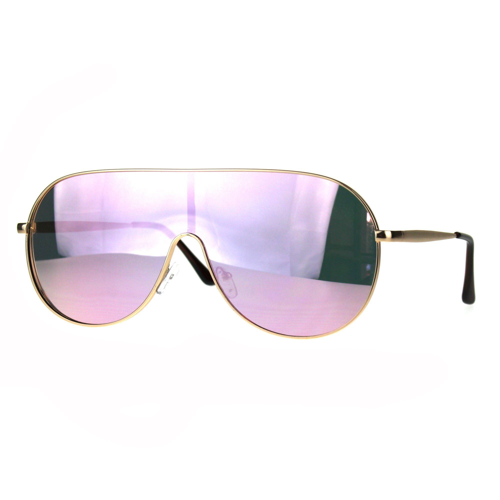Color Mirror Lens Metal Shield Racer Oversize Sunglasses Gold Pink by SA106