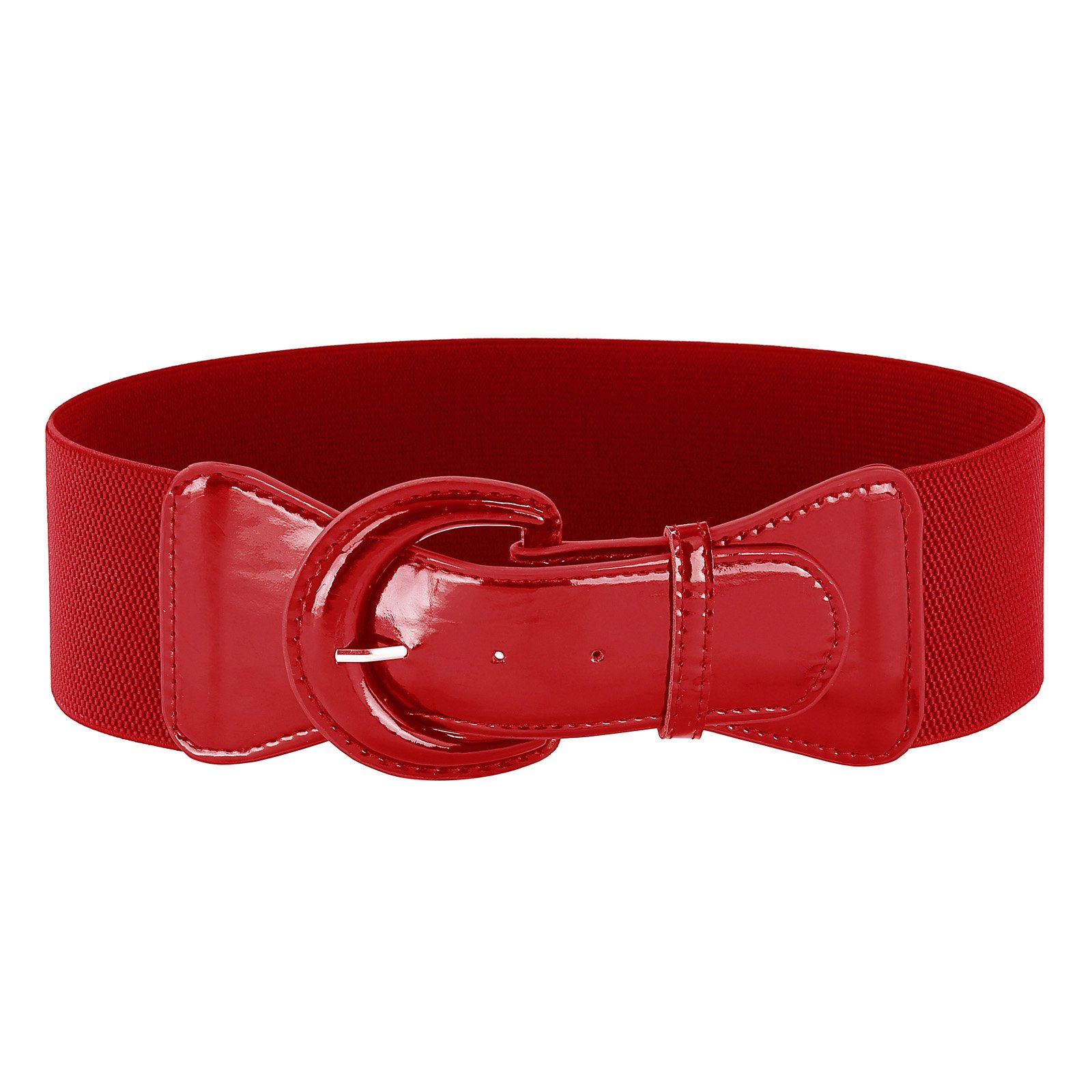 Women's Vintage Style Buckle Stretch Waist Belt (XL,Red 469-2)