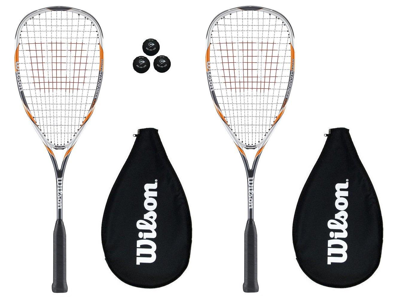 2 x Wilson Hyper Hammer 145 Yellow Squash Rackets + 3 Squash Balls