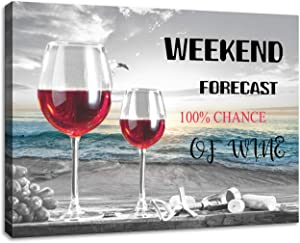 Wine Glass Wall Decor for Kitchen Beach Decor Wine Glass Canvas Prints Home Decoration Canvas Wall Art Slogan Ready to Hang Size: 12x16inch